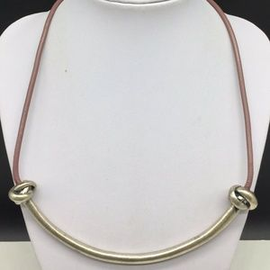 Ann Taylor Loft Tan Brown Leather Cord Necklace